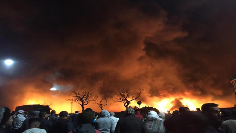 حريق مهول بسوق الجملة للخضر والفواكه بالدار البيضاء يخلف خسائر مادية كبيرة