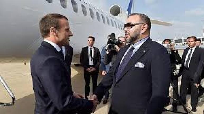 وصول الرئيس الفرنسي إمانويل ماكرون إلى المغرب