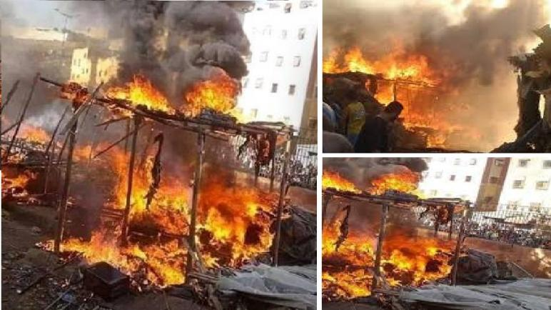 """اندلاع حريق بسوق عشوائي للخضر بمنطقة """"عين هارون"""" بفاس"""