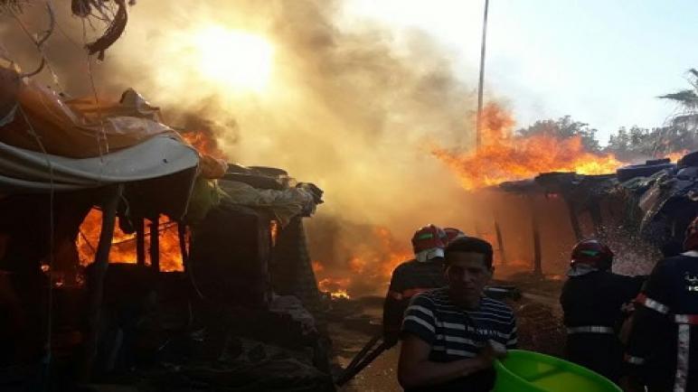 حريق بسوق عين النقبي بفاس