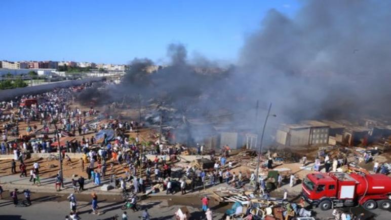 حريق مهول بسوق الصالحين بسلا